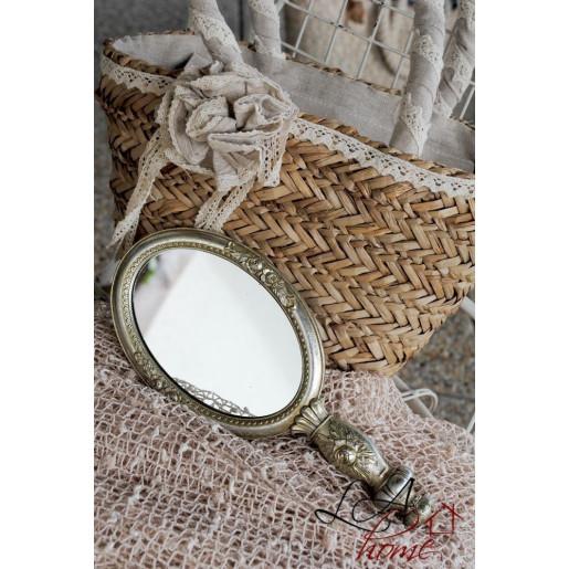 Oglinda de mana polirasina argintiu vintage Roses 12 cm x 27 cm