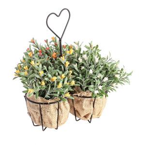 Set 3 ghivece flori artificiale cu suport metal 30.5 cm x 17.5 cm x 16h