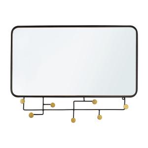 Oglinda de perete cu rama metal negru si 7 cuiere Korbit 82 cm x 5 cm x 62.5 h