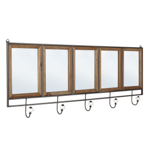 Oglinda de perete cu rama metal negru lemn natur si 5 cuiere Border