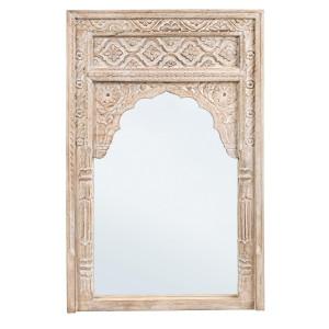 Oglinda decorativa perete lemn natur cu patina alba Nawal