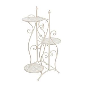 Suport flori fier forjat 3 ghivece crem 48 cm x 29 cm x 80h