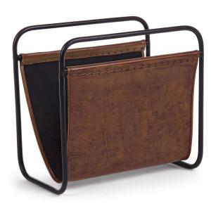 Suport reviste de pardoseala din fier negru si piele naturala maro Charleston 39 cm x 24 cm x 37 h