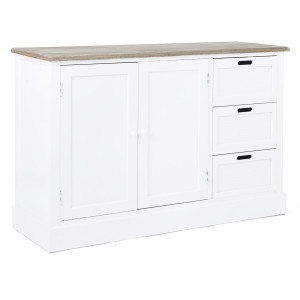 Comoda 3 sertare si 2 usi din lemn alb natur Dorotea 123 cm x 40 cm x 82 h