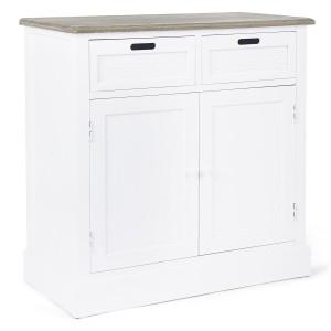 Comoda 2 sertare si 2 usi din lemn alb natur Dorotea 84 cm x 39.5 cm x 85 h