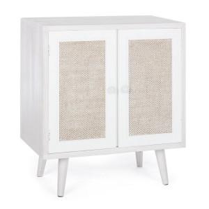 Comoda 2 usi din lemn alb patinat Montiel 60 cm x 34.5 cm x 67 h