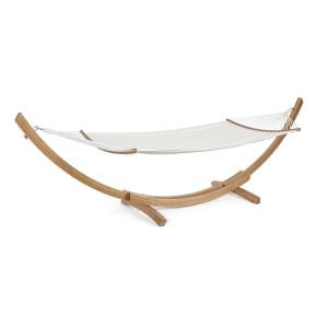 Hamac textil alb cu suport din lemn natur 383 cm x 89 cm x 120 h x 66 h1