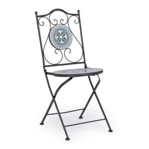 Scaun cu spatar pliabil fier negru cu sezut din ceramica alba gri Micerino 39 cm x 47 cm x 92 h x 45 h1