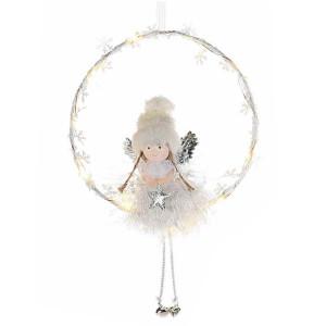 Coronita decorata cu Inger alb cu led 17x26 cm