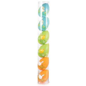 Set 6 oua decorative plastic suspendabile ratusca albastru verde portocaliu
