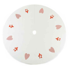 Covoras textil brad Heart White Ø 100 cm