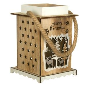 Felinar lemn Merry Christmas 17 cm x 26 cm