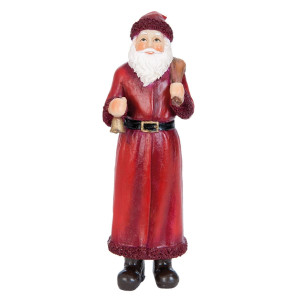 Figurina Mos Craciun polirasina rosu 14 cm