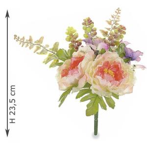 Buchet artificial peonia roz somon 24 cm