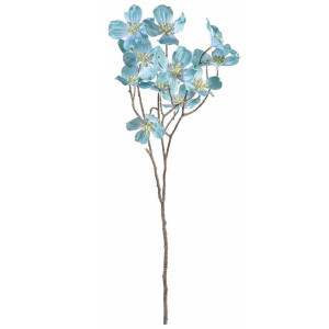 Crenguta artificiala flori cornus albastru 73 cm