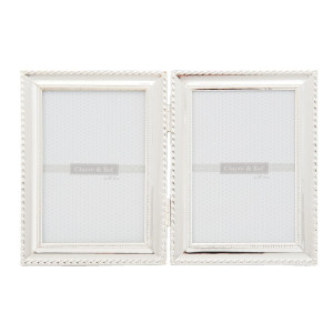 Rama foto dubla argintie metal 27x19 cm