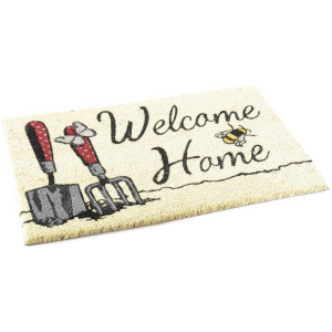 Covoras intrare casa antiderapant fibre cocos cauciuc model Welcome Home 60 cm x 40 cm