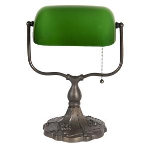 Veioza cu baza din fier cupru si abajur sticla verde Tiffany 27 cm x 20 cm x 36 h