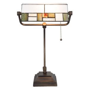 Veioza de birou cu baza din fier maro si abajur din sticla alba Tiffany 31 cm x 30 cm x 52 h