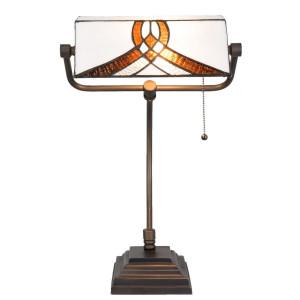 Veioza de birou cu baza din fier maro si abajur din sticla alba maro Tiffany 31 cm x 30 cm x 52 h