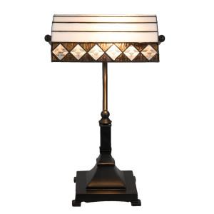 Veioza de birou cu baza din fier negru si abajur din sticla galbena neagra Tiffany 12 cm x 12 cm x 35 h