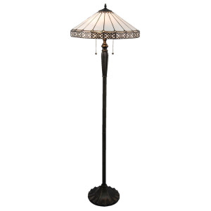 Lampadar cu baza din polirasina neagra si abajur sticla alba Tiffany Ø 51 cm x 160 h