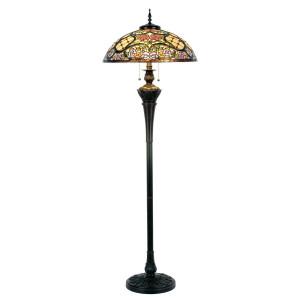 Lampadar cu baza din polirasina maro si abajur sticla Tiffany Ø 55 cm x 150 h