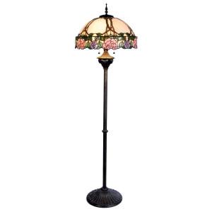 Lampadar cu baza din polirasina neagra si abajur sticla Tiffany Ø 50 cm x 150 h