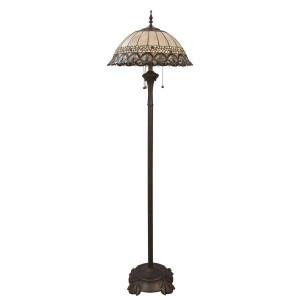 Lampadar cu baza din metal maro si abajur sticla Tiffany Ø 50 cm x 165 h