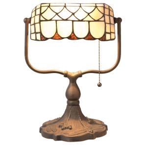 Veioza de birou cu baza din fier maro si abajur din sticla Tiffany 26 cm x 21 cm x 37 h