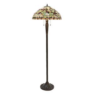 Lampadar cu baza din polirasina maro si abajur sticla Tiffany Ø 51 cm x 157 h