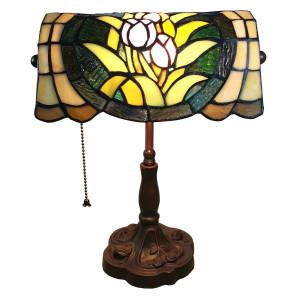 Veioza de birou cu baza din fier maro si abajur din sticla multicolora Tiffany 25 cm x 25 cm x 42 h