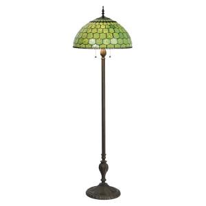 Lampadar cu baza din polirasina neagra si abajur sticla verde Tiffany Ø 51 cm x 165 h