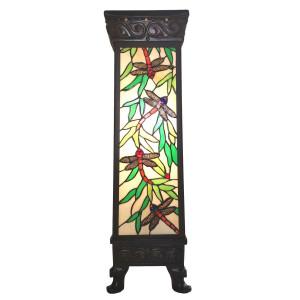 Veioza cu baza din metal negru si abajur din sticla Tiffany 26 cm x 26 cm x 71 h