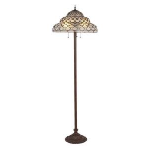 Lampadar cu baza din polirasina maro si abajur sticla Tiffany Ø 52 cm x 166 h
