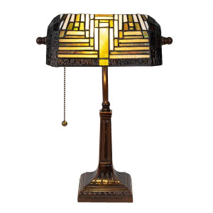 Veioza de birou cu baza din fier maro si abajur din sticla crem Tiffany 26 cm x 26 cm x 42 h