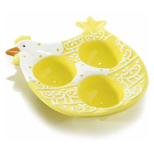 Platou ceramic Paste Gallina Yellow 3 oua 13 cm x 14.5 cm x 3.5 h