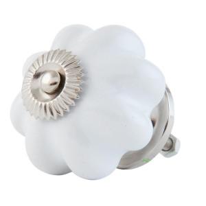 Buton mobila din fier si ceramica alba Ø 4 cm
