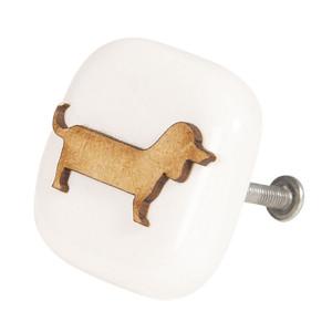Buton mobila din fier si ceramica alba maro Dog 5 cm x 3 cm x 5 h
