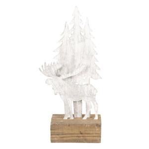 Figurina Elan si Brazi din metal gri lemn natur 13x8x28 cm