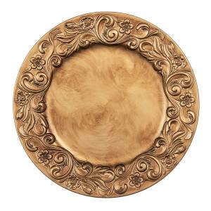 Farfurie din melamina auriu antic model Floral Ø 33 cm x 2 cm