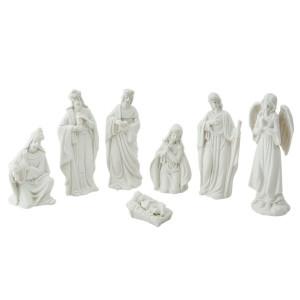 Set 7 figurine religioase din portelan alb 6 cm x 6 cm x 10 h