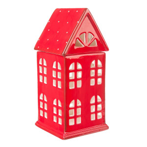 Candela ceramica Red House 11 x 10 x 23 cm