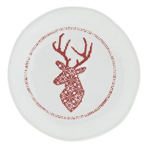 Farfurie din ceramica alba rosie model Ren Ø 14 cm x 2 cm