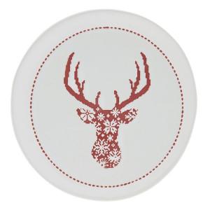 Farfurie din ceramica alba rosie model Ren Ø 17 cm x 2 cm