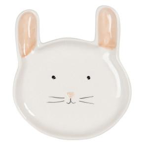 Farfurie din ceramica crem model Pisica 15 cm x 17 cm x 2 cm