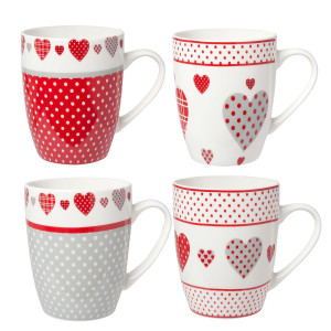 Set 4 cani ceramica rosu alb gri Heart 12 cm x10 H 0,3L