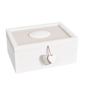Cutie bijuterii lemn alb bej Cuore 28*20*12 cm