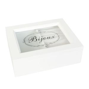Cutie bijuterii cu organizator inele lemn alb Bijoux 15*12*5 cm