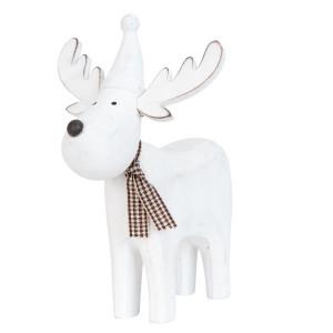 Figurina Ren lemn alb 14 x 12 x 15 cm